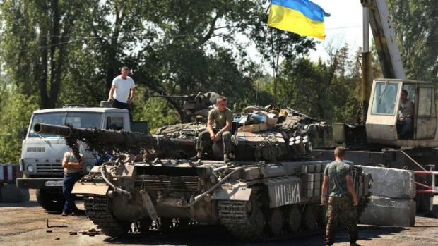 Ukrainian soldiers at a checkpoint in Debaltsevo, in eastern Ukraine.