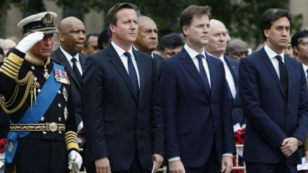 From left: Prince Charles, David Cameron, Nick Clegg and Ed Miliband.