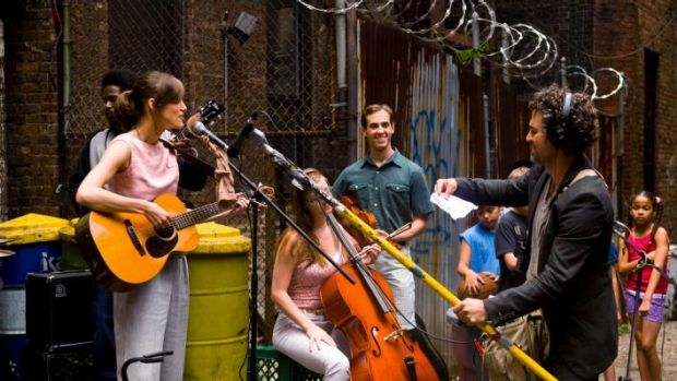 Street sounds: Keira Knightley and band with Mark Ruffalo in <i>Begin Again.</i>