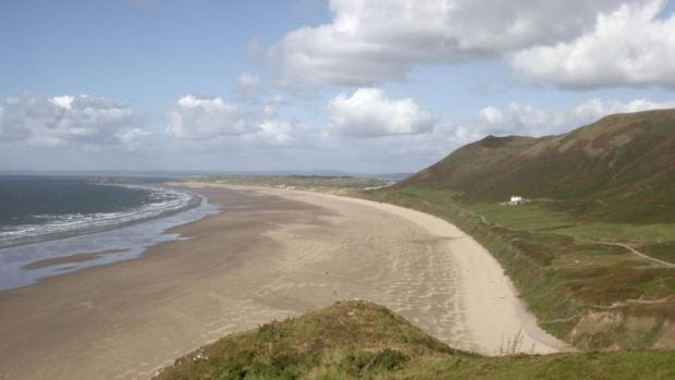 Llangennith Beach, Wales, where cancer survivor Geraldine Jones died after falling from a horse.