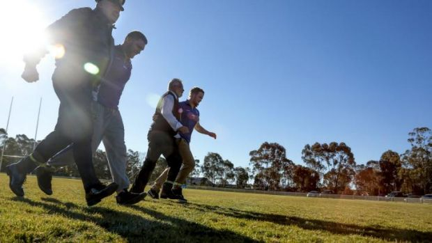 Australian Air Force Wing Commander Michael Rowe, Canberra Raiders' Jake Foster, Habitat Personnel's Gerry Moore and ...
