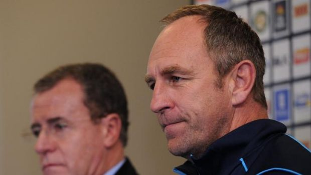 End of an era: outgoing Gold Coast Titans coach John Cartwright addresses the media on Tuesday.