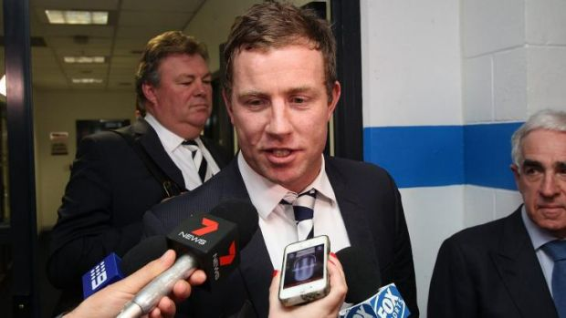 A clearly relieved Steve Johnson speaks to the media after his tribunal hearing on Tuesday.