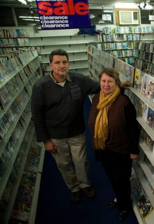 Neal Crisford and his wife Carol in their Bondi Junction video store Dr What which is closing its doors after 30 years ...