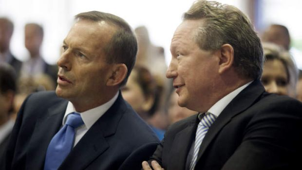 Prime Minister Tony Abbott and mining magnate Andrew Forrest at the launch of Mr Forrest's report on indigenous jobs and ...