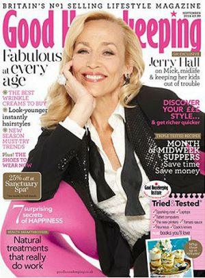 Jerry Hall on the cover of next month's <i>Good Housekeeping</i> magazine.