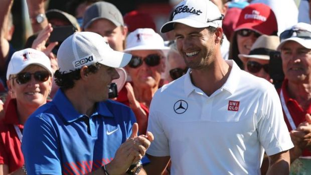 Epic battle: Rory McIlroy and Adam Scott after the 2013 Australian Open.