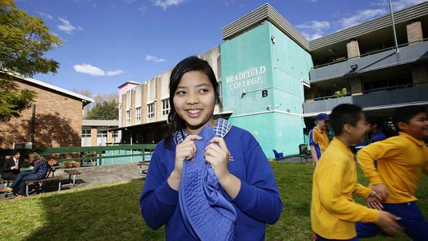 Yuzu Ito from North Sydney Demonstration School inspects the site where she will attend high school next year.
