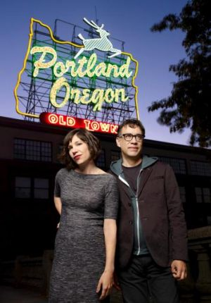 Carrie Brownstein, pictured here with her <i>Portlandia</i>. co-star Fred Armisen, will complete an unfinished script.