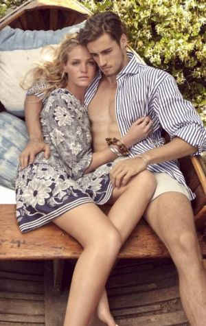 Good chemistry: Erin Heatherton and Jordan Stenmark in the middle of shooting for the 1891 fashion newspaper.