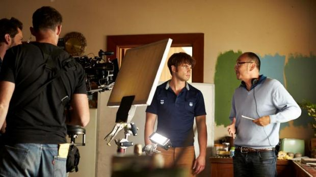 On set: Actor Alex Russell (left) and director Tony Ayres on the set of <i>Cut Snake</i>.