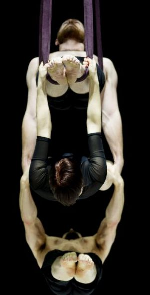 Hanging out: Circa performers Nathan Boyle (top) Jessica Connell and Duncan West during the aerial segment of S.