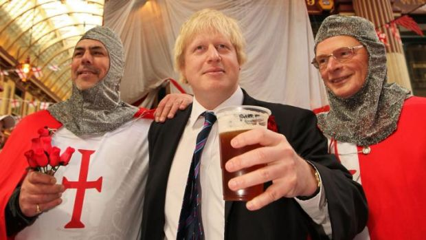Johnson enjoys St George's Day in 2009.