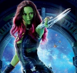 As Gamora in <i>Guardians of the Galaxy</i>.