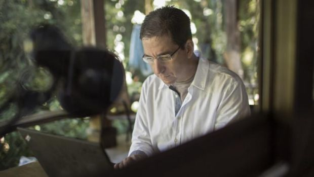 Glenn Greenwald, working at his home in Brazil.