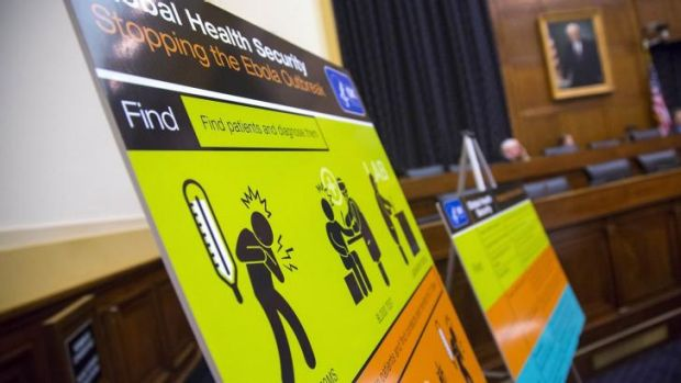 US Centres for Disease Control and Prevention  educational materials are displayed at a hearing of a House Foreign ...