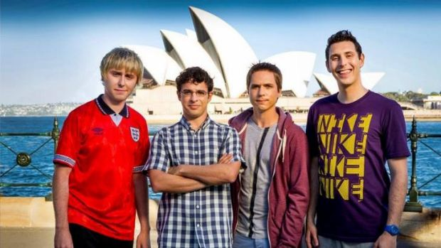 James Buckley (Jay), Simon Bird (Will), Joe Thomas (Simon) and Blake Harrison (Neil) during filming in Australia for ...