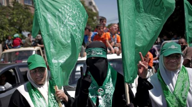 Palestinian Hamas supporters gather for a rally in Gaza City, Gaza Strip, on Thursday.