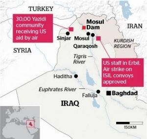 Yazidi community is receiving aid from the US by air. Barack Obama has authorised air strikes in support.