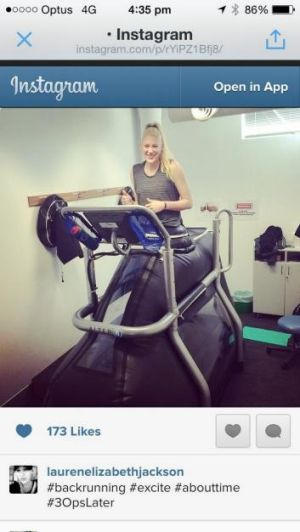 On track: Canberra Capitals star Lauren Jackson running on an Anti-Gravity treadmill at AIS as she continues her ...