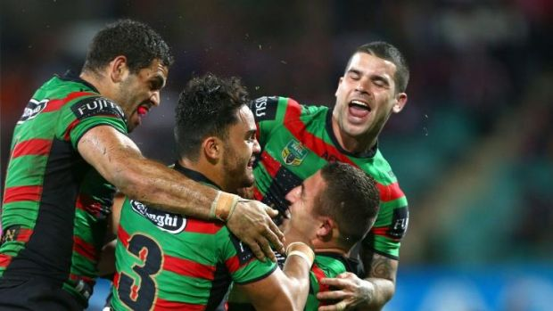 Good times: the Rabbitohs celebrate a Sam Burgess try.