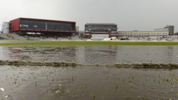 Wet day, no play: a rain-sodden Old Trafford after play was stopped during the fourth Test between England and India in ...