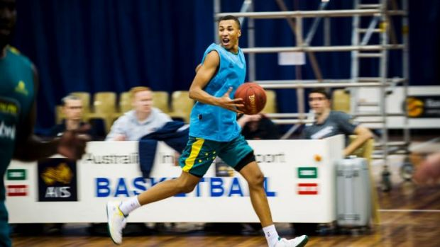 Uninjured: Dante Exum in training for the upcoming World Cup last month.