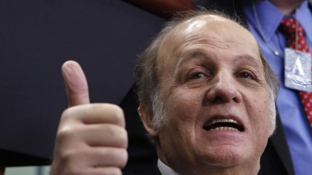 James Brady visits the White House press briefing room in 2011.