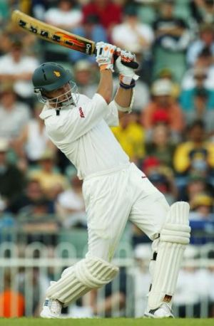 Testing times: Mark Vermeulen hits out for Zimbabwe on a tour match in Perth in 2003.