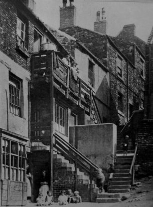 A street scene in Gateshead, County Durham that inspired Brian's work.