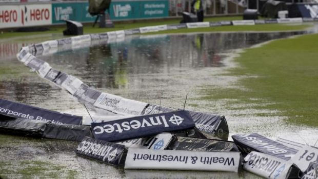 The water-logged boundary area at Old Trafford after rain on day two of the fourth Test forced an early end to play.