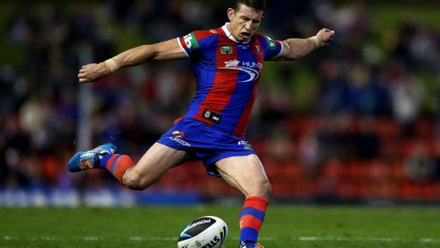 Just in time: Skipper Kurt Gidley kicks the winning conversion.