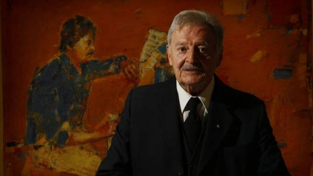 Composer Peter Sculthorpe with a portrait by Eric Smith that forms part of the exhibition at the National Portrait ...