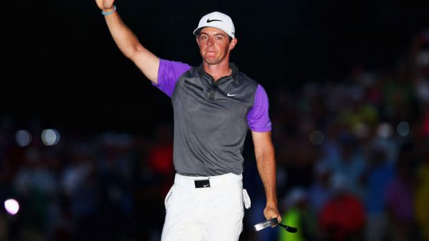 Rory McIlroy of Northern Ireland celebrates his one-stroke victory.