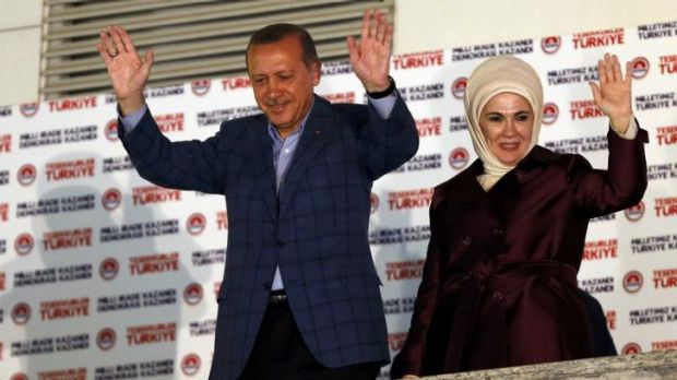 Recep Tayyip Erdogan and his wife Ermine as they celebrate his win.