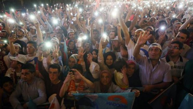 Supporters of Recep Tayyip Erdogan during the celebrations of his victory in the presidential election.