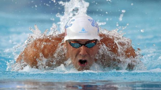 Michael Phelps during the 200-metre individual medley at the US National Championships in California.