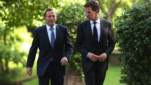 Prime Minister Tony Abbott, left, with Dutch Prime Minister Mark Rutte in the Netherland to discuss developments in the ...