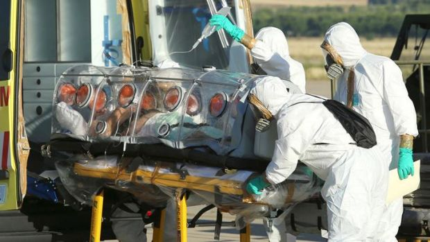 Roman Catholic priest Miguel Pajares, who contracted the deadly Ebola virus, being transported from Madrid's Torrejon ...