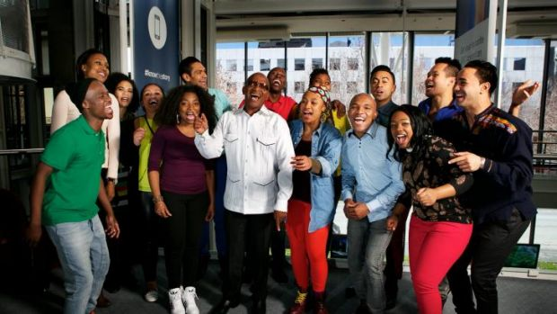 Composer Lebo M (centre, white shirt) with members of <i>The Lion King</i> cast.