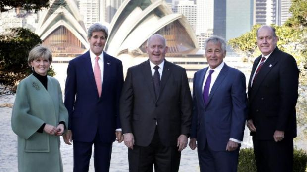 Joining forces against Iraq: From left, Julie Bishop, John Kerry, Peter Cosgrove,  Chuck Hagel  and  David Johnston.