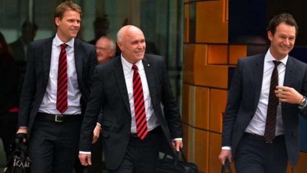 Essendon chief marketing officer Justin Rodski, chairman Paul Little and chief operating officer Xavier Campbell leave ...