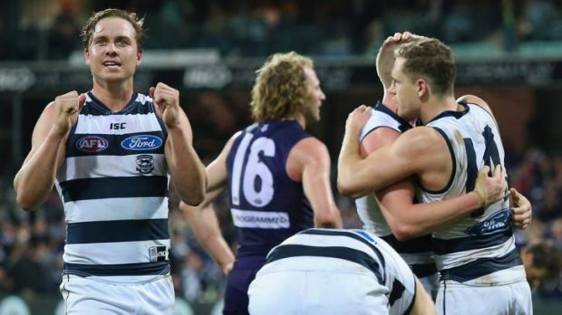 Free to celebrate: Joy for Geelong after a thrilling win against Fremantle at the weekend.