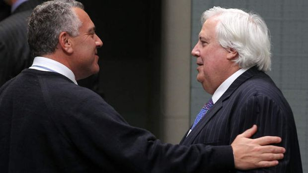 Palmer United Party leader Clive Palmer and Treasurer Joe Hockey had dinner to discuss the budget deadlock.