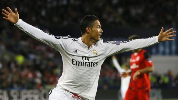 Cristiano Ronaldo celebrates after scoring the second goal during the UEFA Super Cup.