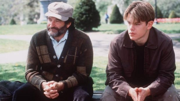 Robin Williams and Matt Damon in <i>Good Will Hunting</i>, which will air on Channel Nine on Saturday.