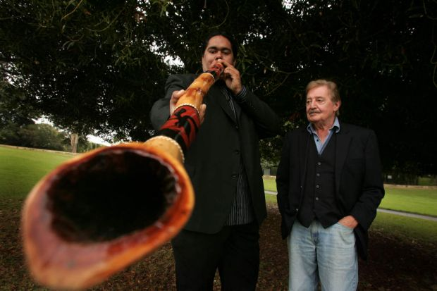 Composer Peter Sculthorpe with didgeridoo player William Barton in Sydney on May 2, 2005.