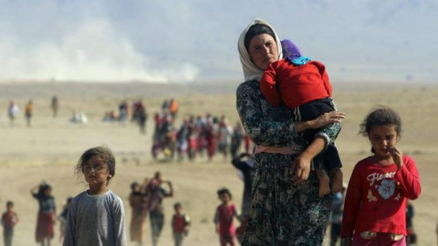 Displaced people from the minority Yazidi sect, fleeing violence from forces loyal to the Islamic Statein Iraq's north.