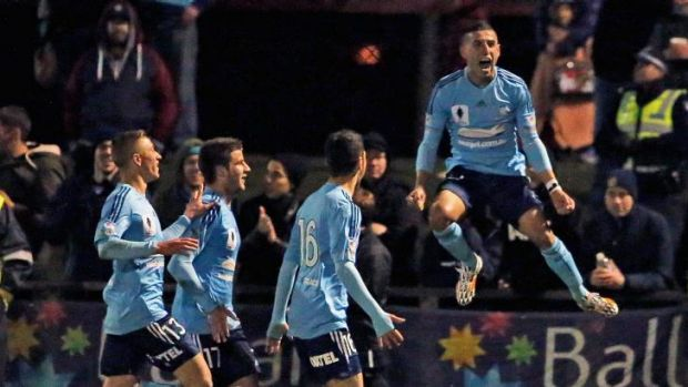 Ali Abbas celebrates after scoring a goal against Melbourne City on Tuesday.