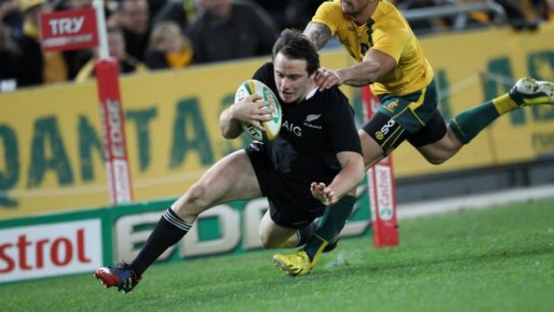 He's done it before: Ben Smith scores for the All Blacks against Australia during last year's Bledisloe Cup.